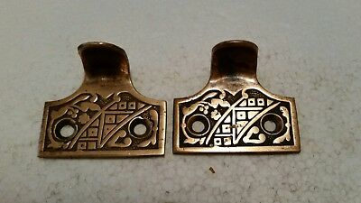 Pair Vintage Antique Victorian Solid Brass  Sash Lift Window Lifts (#4H)