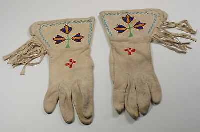 Shoshone Indian Beaded gloves from the Wind River Reservation Wyoming