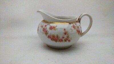 "Noritake Nippon 3 1/8"" Tall Creamer With Pink & Yellow Roses and Gold Accents"