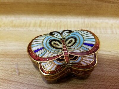 "Vintage Enameled Metal 2.5"" X 1.75"" X 1.25"" Butterfly Pill or Trinket Box"