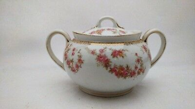 Noritake Nippon Sugar Bowl With Lid With Pink & Yellow Roses and Gold Accents