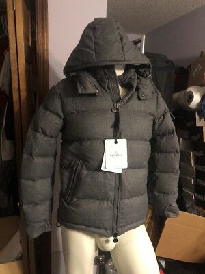 0fd48578607 Moncler Montgenevre Quilted Down Fill Puffer Gray Wool Jacket Size 1 Small  46eu