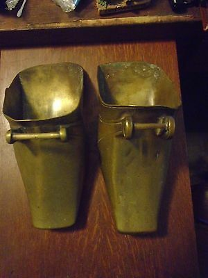 Pair of ANTIQUE  SOLID BRASS SPANISH CONQUISTADOR STIRRUPS  STAMPED FF 35