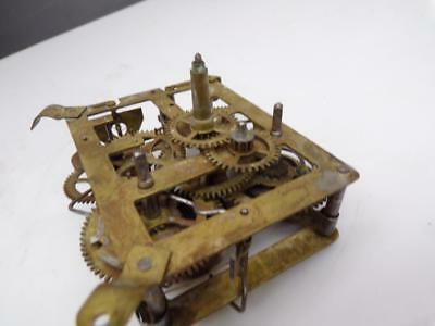 Vintage  Unsigned Clock  Brass Movement  Parts or Repair E067c