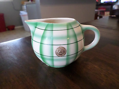 Vintage Erphila Pottery Creamer Made in Czechoslovakia Green and White