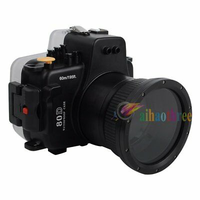Meikon 60m/195ft Waterproof Underwater Housing Case For Canon EOS 80D 18-135mm