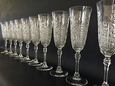 "EXQUISITE DETAIL 10 Crystal Champagne Flutes, 8 3/8"" Tall, Stars & Pineapple Cut"