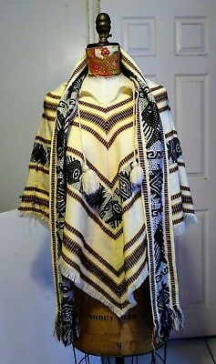 Peruvian Beige Yellow Acrylic Poncho with Scarf Traditional Short Size S