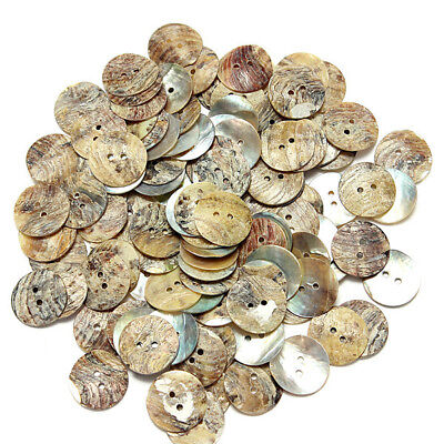 100PCS Natural Mother of Pearl Round Shell 2 Holes Sewing Buttons 8-20mm