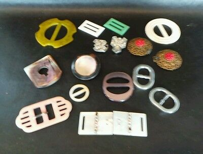 Large Lot Antique Vintage Belt Buckles-MOP Bakelite Brass Celluloid etc