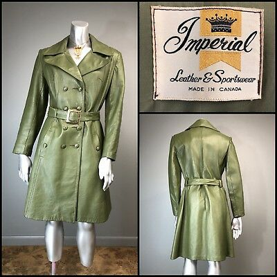 Vtg 70s Coat Green Leather Mod Belted Trim Fit FAB Buckle Notched Collar Trench