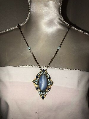 Antique Vintage Art Deco Enamel & brass filigree beads, blue stone Necklace