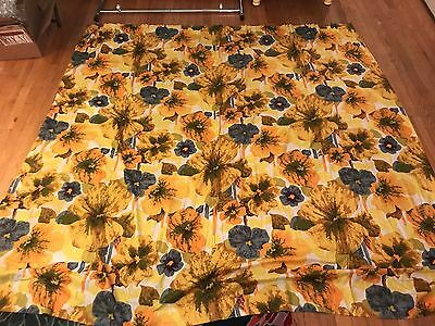 Mid Century Modern Floral Mod Pair Curtains multi-pocket 76x76 Vintage restpleat