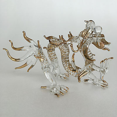 Medium Size Dragon Glass Chinese Animal Gold Hand Painted Gift Home Collectible