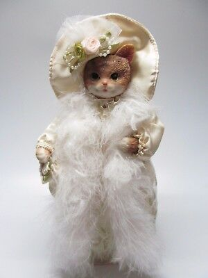 """Gift Collection Cat Victorian Collectible Cat By Avon 11"""" Figurine Doll Statue"""