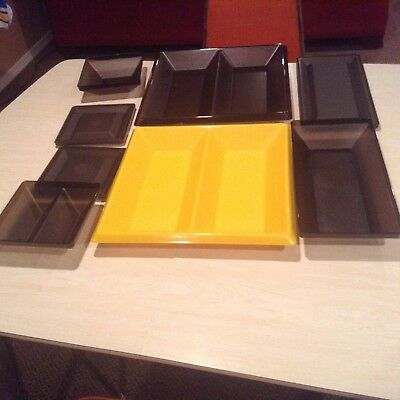 Vintage Tupperware Get Together Serving Set Black & Yellow Bases 8 Pieces total