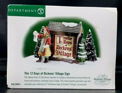 Dept 56 The Twelve Days of Dickens Village Sign Accessory Christmas 58467 12