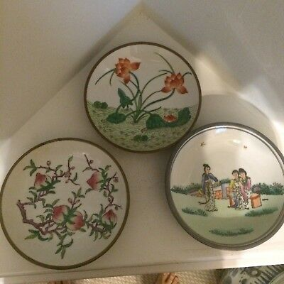 Three Vintage Chinese Porcelain Brass Plate
