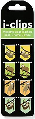 Sloths i-Clips Magnetic Page Markers Set of 8 Magnetic Bookmarks Hardcover