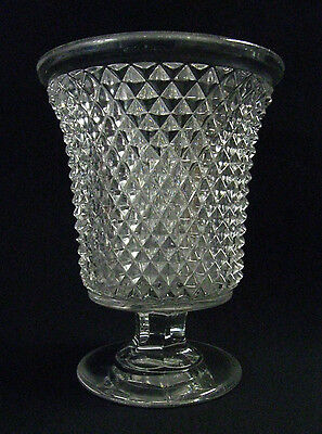 "1860s Sandwich Glass Full Flint ""Diamond Point"" or ""Sawtooth"" Spooner, Antique"