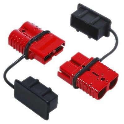 2x Red Battery Quick Connector Plug Connect Disconnect Winch Trailer 50A 8/6AWG
