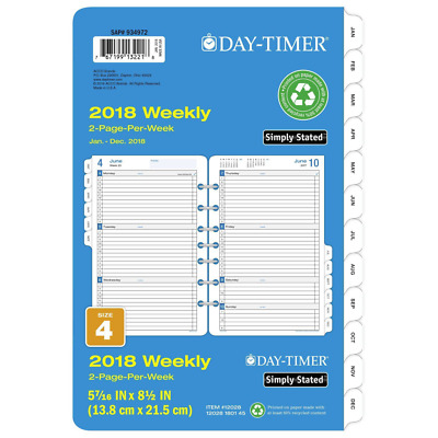 Day Timer Refill Weekly 2018 Two Page Per Week January-December 5-1/2 x 8-1/2