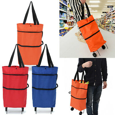 Market Shopping Foldable Oxford Trolley Wheels Bag Folding Carts Basket Luggage