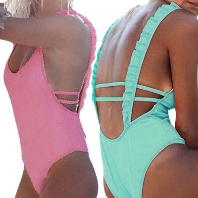 Women Backless Bandage Lotus Strappy Solid Color One-piece Swimsuit Swimwear