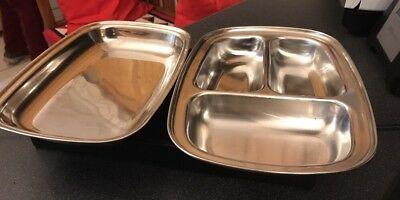 Olde Old Hall Retro Mid-Century Stainless Steel Covered Divided Vegetable Dish
