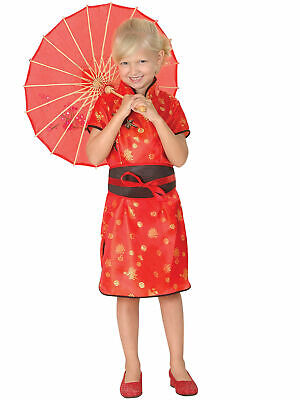 Girls Chinese Costume Childs Oriental Fancy Dress Red Geisha Book Week Outfit