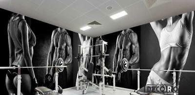 Black And White Collage Photograph Men Women Exercising Fitness Club Art Wall Mu