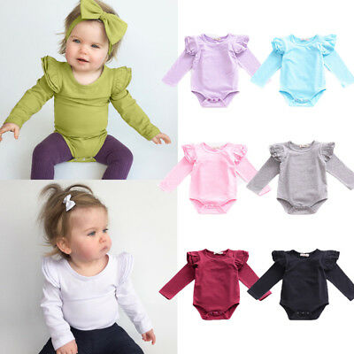 Cute Infant Baby Girls Boys Clothes Long Sleeve Romper Bodysuit Outfits Jumpsuit