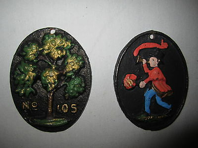 Vintage Cast Iron Medallions Medal Token Tree Trumpeter Art Painted Decor Badge