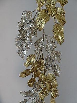 160cm 5ft Ombre Holly Artificial Christmas Garland Home Decoration - 2 Colours