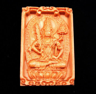 Wooden Detailed Carved Pendant Sculpture Tibetan Buddha Holding Sword #01021811