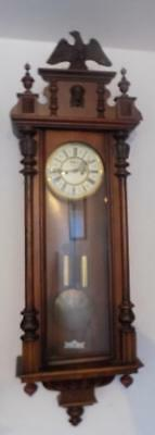 a walnut cased double weight vienna wall clock
