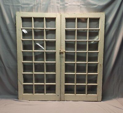 Pair Antique French Door Casement Windows Cupboard 21 Lite Bookcase 42X21 6-18P