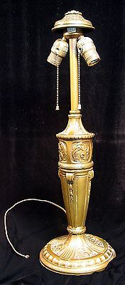 Antique Royal Art Lamp Base for Nouveau Shade with Finial, Shade Cap, Orig Paint