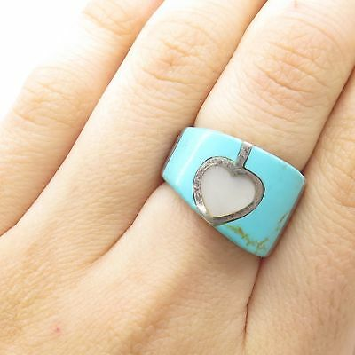 925 Sterling Silver Real Mother-Of-Pearl Turquoise Gem Heart Wide Ring Size 6