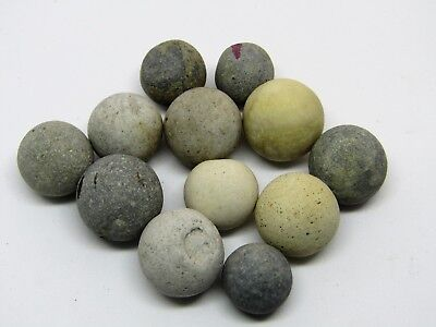 12 small Vintage Scottish Sea Worn Antique Sea/Beach Clay Marbles for Jewellery