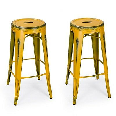 Antique Style Yellow Metal Bar Stools 30 Inch Rustic Set Of 2 New