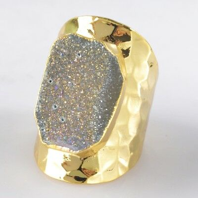 Scratched Size 7 Natural Agate Druzy Titanium AB Ring Gold Plated B045050