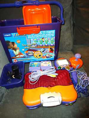 Vtech Vsmile Tv Learning System 7 Games Tested & Works-Ac Adapter-Microphone