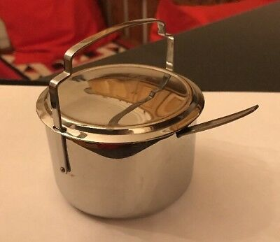 Vintage Old Olde Hall Stainless Stainless Steel Jam Marmalade Pot With Spoon