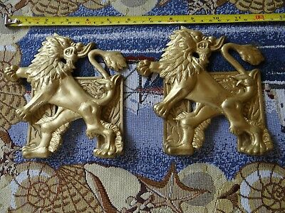 Vintage Brass Bookends Lion with dragon head