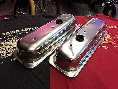 POLISHED Smooth Aluminum Chevy 4.3 V6 VALVE COVERS hot rod, tall roller rockers