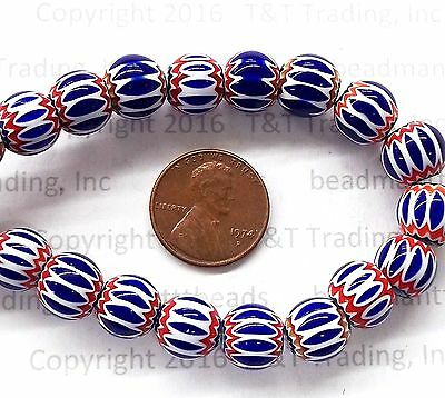Blue 6 Layer Round Chevron Trade Beads  { EACH }   L1617    Antique Style  BIN C