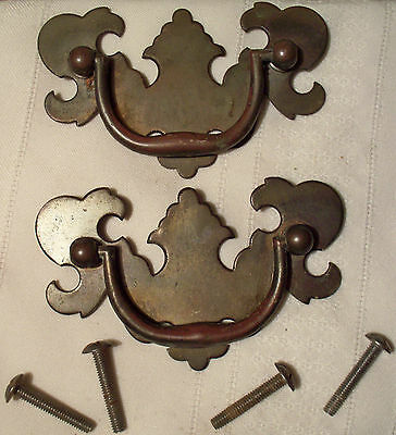 "Drawer Pull vtg lot 2 brass drop hanging knocker 2&1/4""x3&3/4"" Chippendale style"