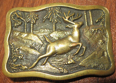 VTG BTS Solid Brass Belt Buckle 1978 Hunting Theme Deer/Buck Made in USA