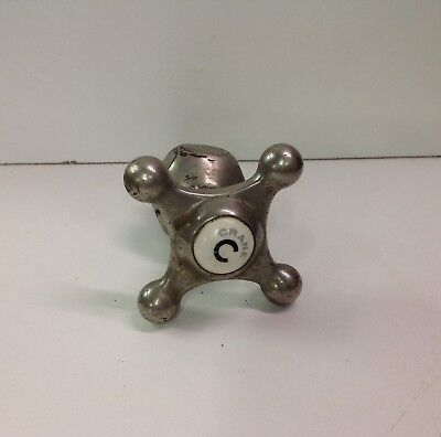 Vintage Antique Crane Metal & Porcelain Cold Water Faucet Knob for Bath /Kitchen